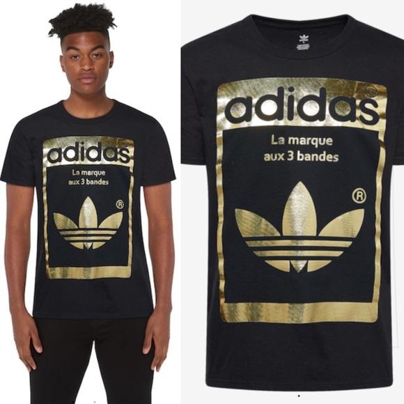 Puñalada Oportuno El cielo  adidas Shirts | Adidas Originals Superstar Og Black Gold Foil Tee | Poshmark